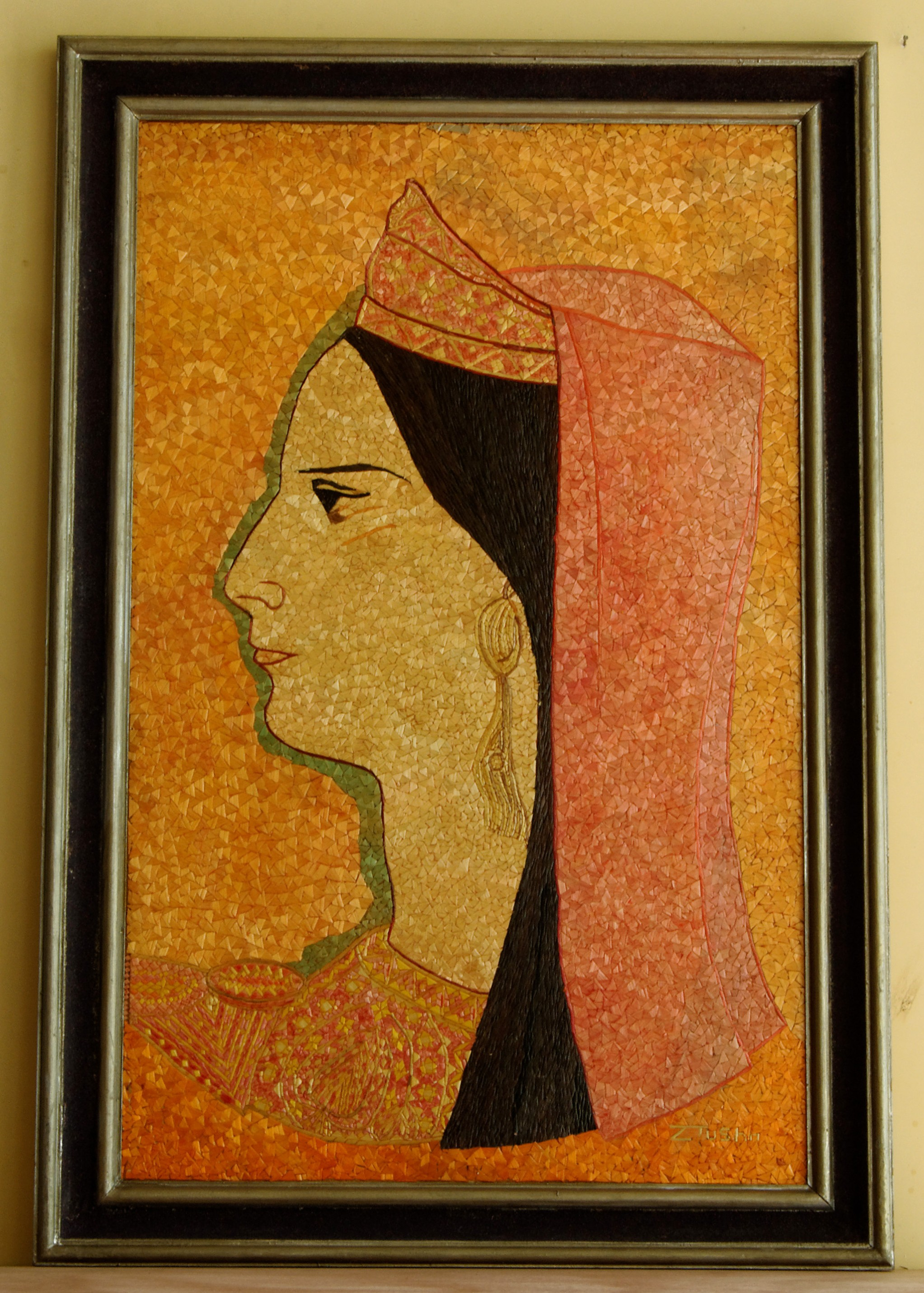 straw mosaic, straw portrait, Ndoc Tusha