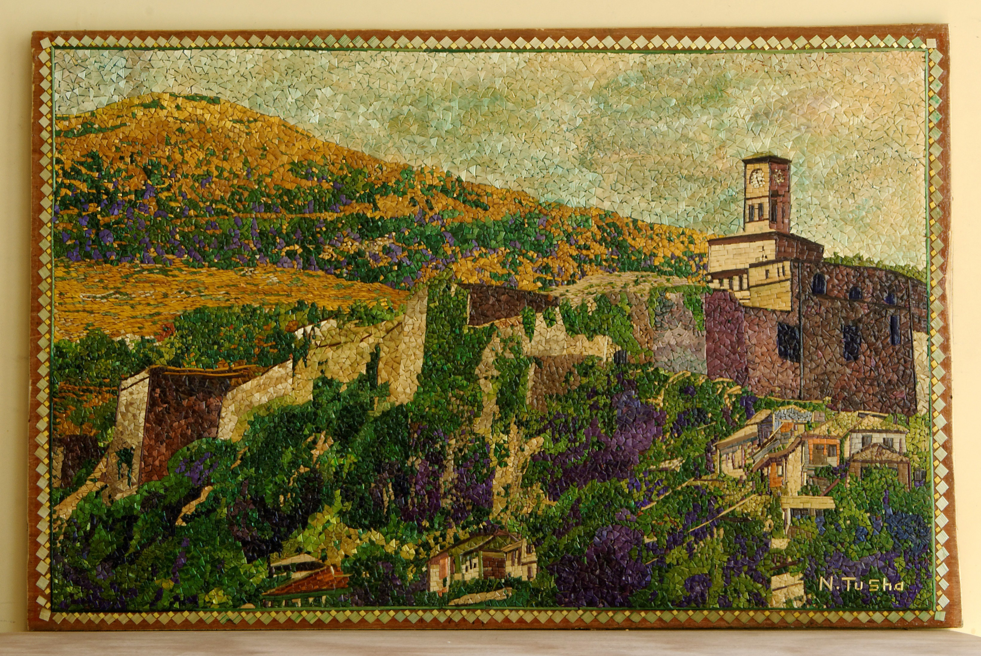 straw mosaic Ndoc Tusha Albania