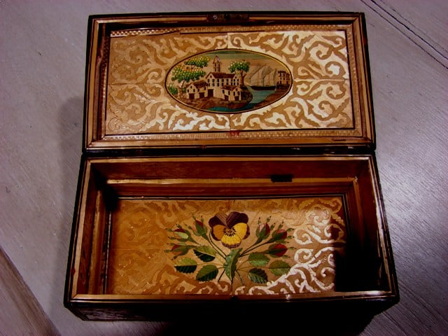 straw marquetry box