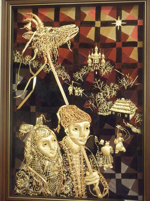 Illya Lashko, of the Ukraine straw embroidery, straw quilting, straw craft, natalia lashko, straw art, stumpwork,