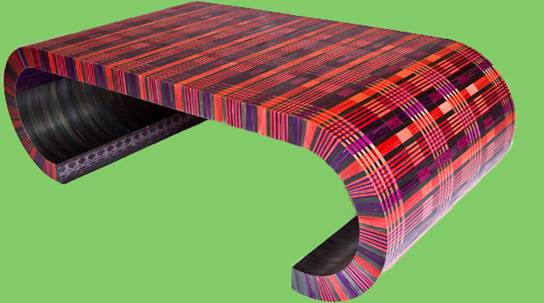 Straw Marquetry table by Lison De Caunes