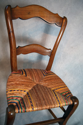Rush chair repair, rush chair seat design, chair upholstery, chair restoration