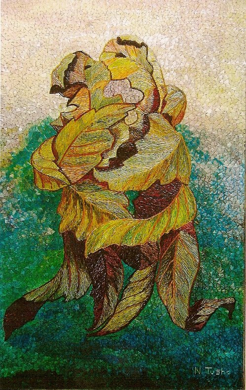 straw marquetry, straw mosaic, marqueterie de paille, Ndoc Tusha