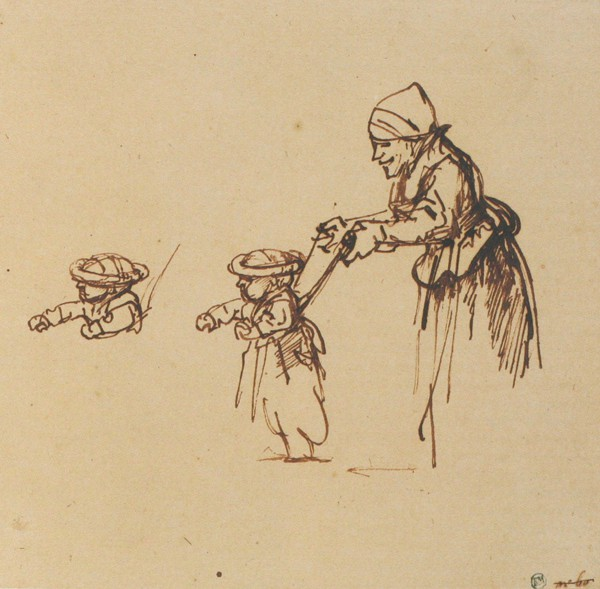 Bourrelet sketch Rembrandt- child with pudding hat - An-Old-Woman-Holding-a-Child-in-Leading-Strings-1645