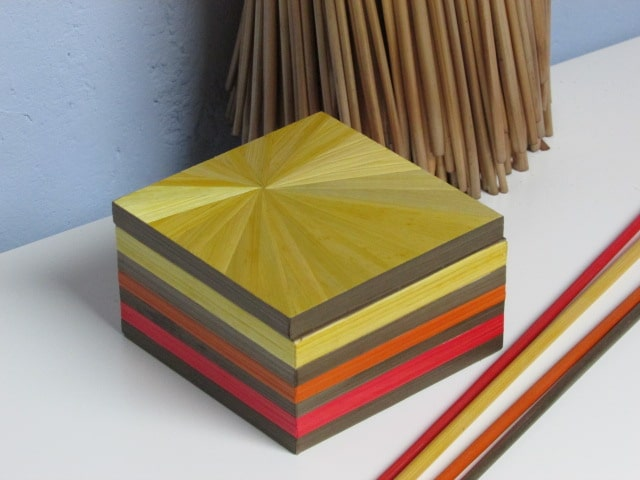 Carine Dekoster BE Box in straw marquetry