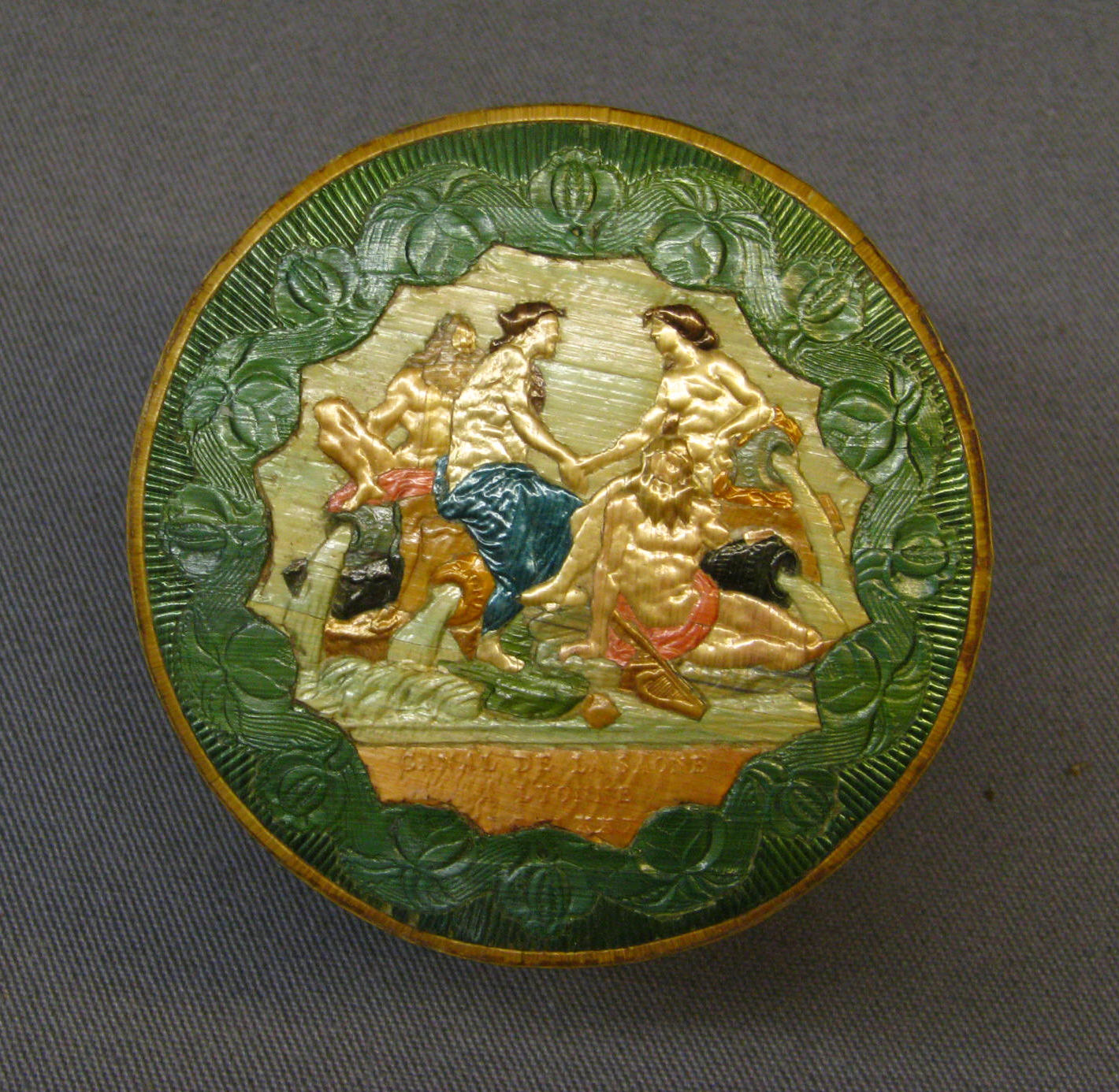 Embossed Toilet Box inner container signed CANAL DE LA SOANE, A LYONNE Courtesy Metropolitan Museum of Art NY, The Straw Shop