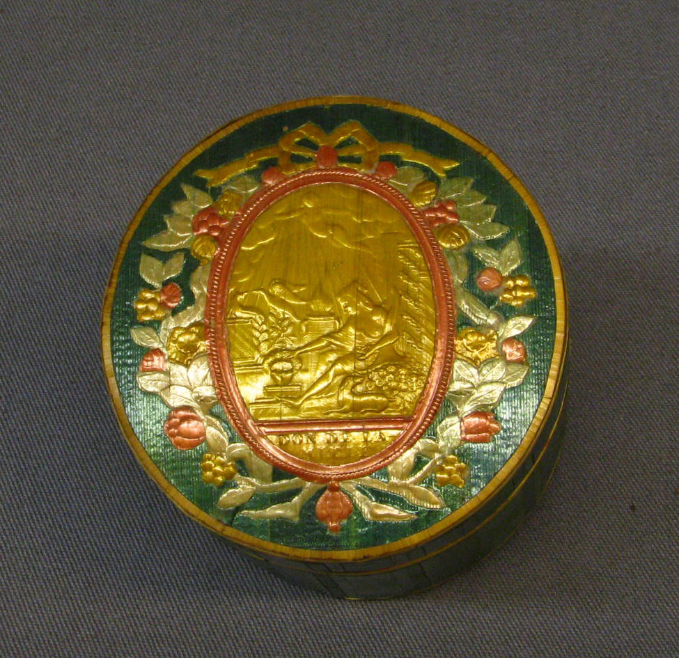 Embossed Toilet Box inner container signed Don de La - Mitie Courtesy Metropolitan Museum of Art NY, The Straw Shop