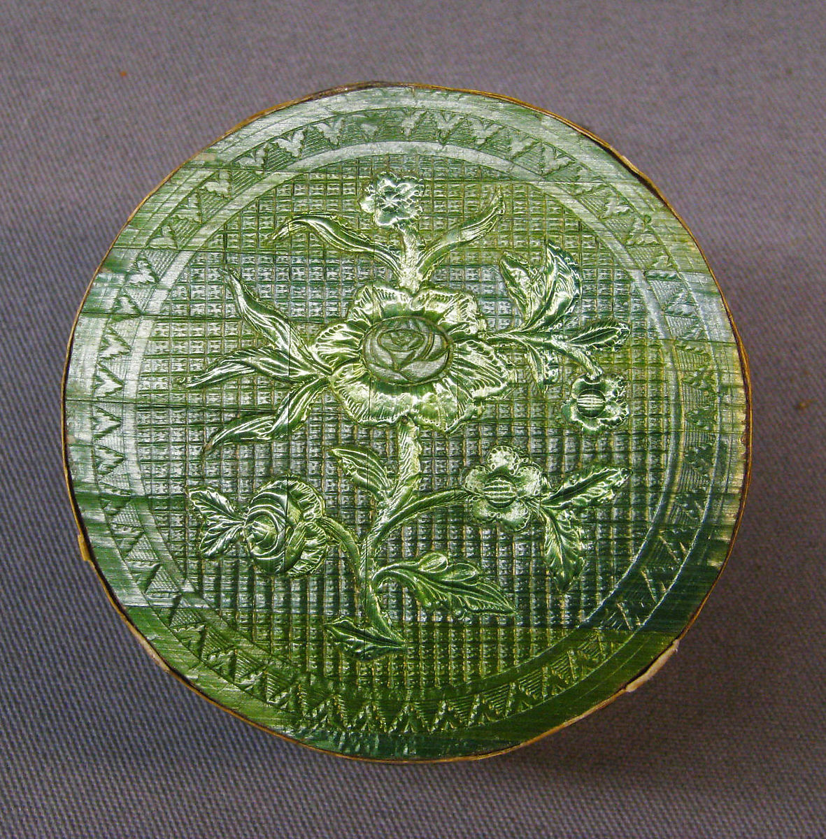 Embossed Toilet Box inner container with green flowers Courtesy Metropolitan Museum of Art NY