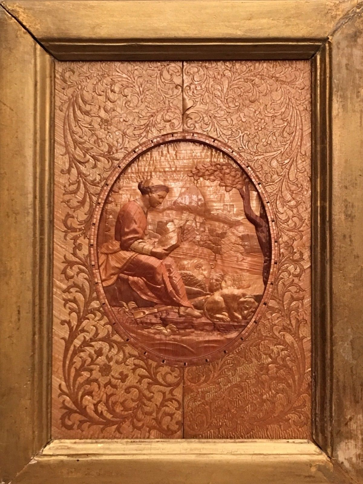 Embossed straw- panel of shepardess from the Collection of Lison De Caunes.