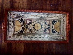 Greek straw tray detail with fans , Courtesy Ebay, The Straw Shop
