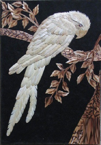 Irina-Parosova parrot, straw art, straw applique, straw patchwork, straw pyrography, the straw shop,