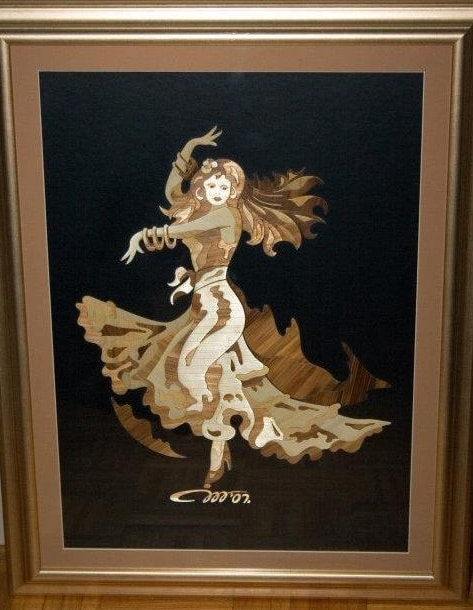 Jasmin Mesaric Croatia flamenco dancer, The Straw Shop, straw art, pyrography straw , inlaid straw