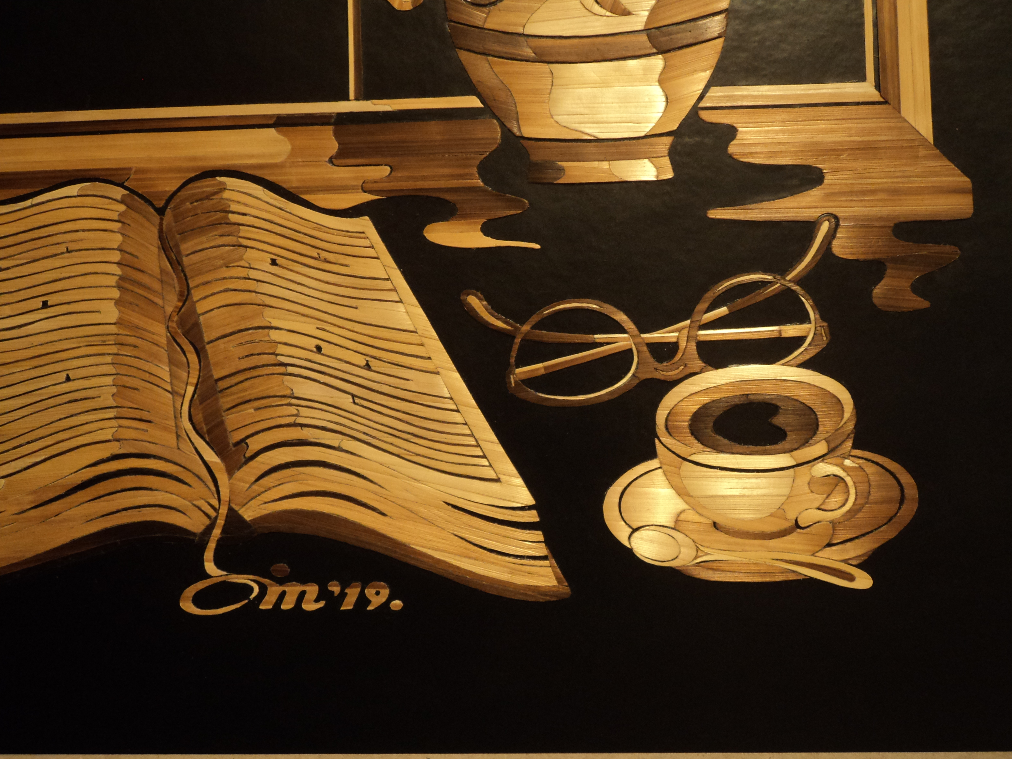 Jasmin Mesaric Spring Morning detail of book and coffee cup, courtesy the artist