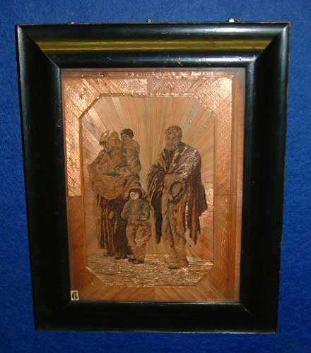 ean De Laporte, straw marquetry Beggar Family , Made at Norman Cross Depot 1812, Courtesy Peterborough Museum and City Gallery