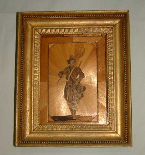 Jean De Laporte, straw marquetry Cossack Officer , Made at Norman Cross Depot 1812, Courtesy Peterborough Museum and City Gallery