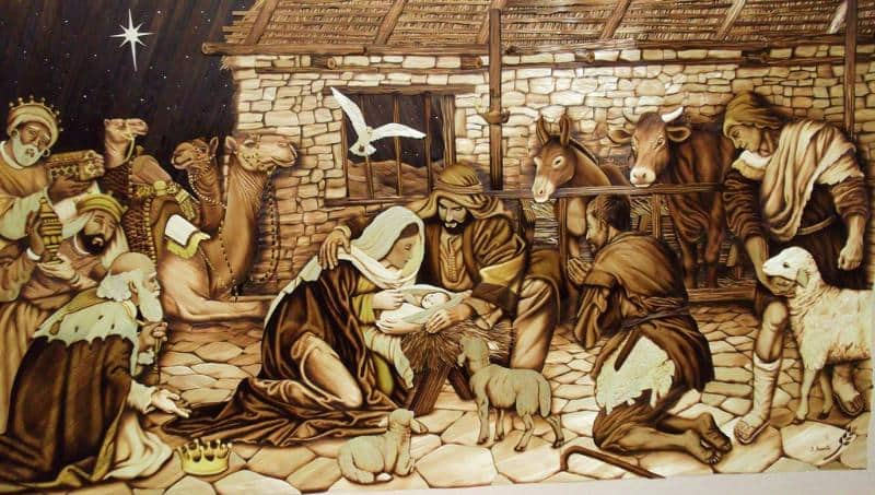 Jorge Huerta, straw nativity, straw pyrography