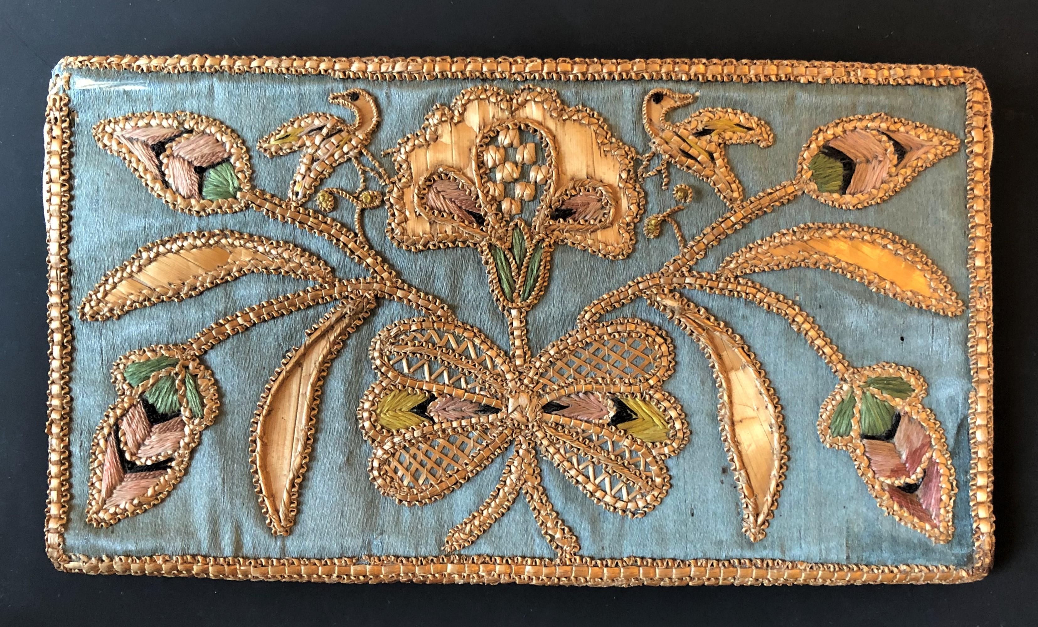 Antique Pocketbook, Musinsky Rare Books, Inc., straw embroidery, The Straw Shop
