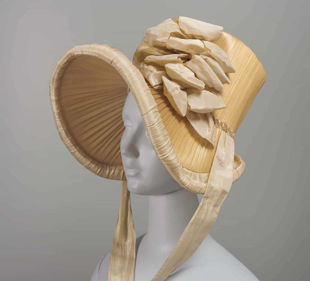 Mary Dixon Kies styled woven hat front 1815 CourtesyMuseum Fine Arts Boston