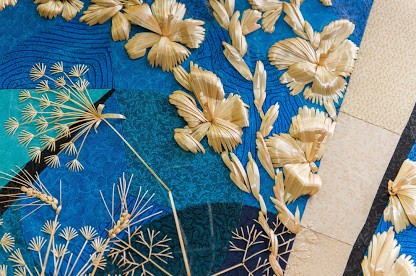 Natalya Lashko straw embroidery floral detail, straw embroidery, straw quilting, straw craft, natalia lashko, straw art, stumpwork,