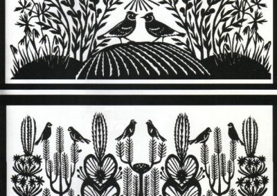 Paper cuttings by Rasa Družienė entitled Pavasaris; Verbos, courtesy the artist