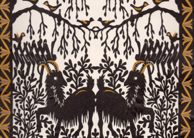 Paper cuttings by Rasa Družienė entitled Rams , courtesy the artist