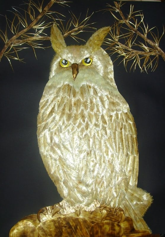 Pyrography Irina Parosova owl, pyrography straw, straw art, straw patchwork, straw painting, the straw shop