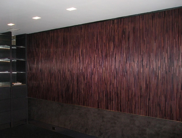 Sandrine Viollet dyed straw marquetry wall treatment