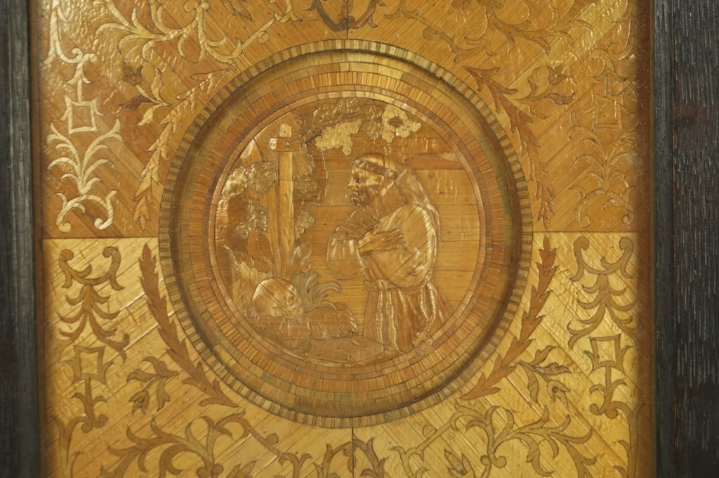 Straw embossed and inlaid panel circa 1720s St Francis of Assisi courtesy Ruby Lane