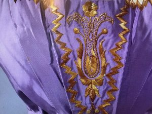 Straw embroidered Bodice ands sleeve detail showing embroidered straw, Photo Courtesy The Straw Shop