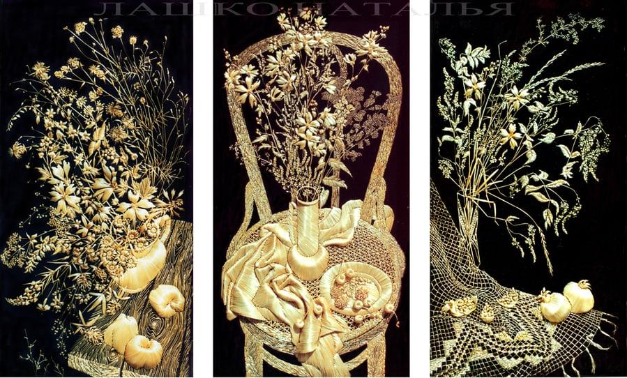 Straw embroidery, Natalia Lashko