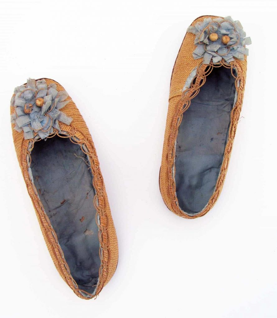 Courtesy Harrison Howard Collection, straw decorated shoes, straw decorated shoes, straw shoes, straw art history, vintage straw shoes, antique straw shoes, The Straw Shop straw fashion, The Straw Shop