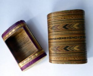 Straw match holder, two pieces described as Napoleonic, Courtesy Etsy