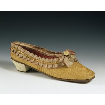 Straw shoes 1860s origin unknown Courtesy V&A Museum, straw decorated shoes, straw decorated shoes, straw shoes, straw art history, vintage straw shoes, antique straw shoes, The Straw Shop straw fashion, The Straw Shop