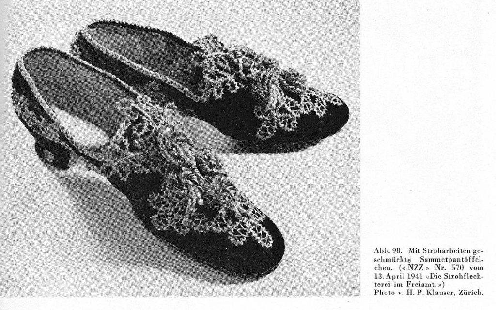 Straw shoes April 13 1941 page from Freiamt switzerland, courtesy G Rodel straw decorated shoes, straw shoes, straw art history, vintage straw shoes, antique straw shoes, The Straw Shop