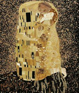 Lyudmila Kushnir, The Kiss, Straw art, Ukraine straw, straw applique, The Straw Shop