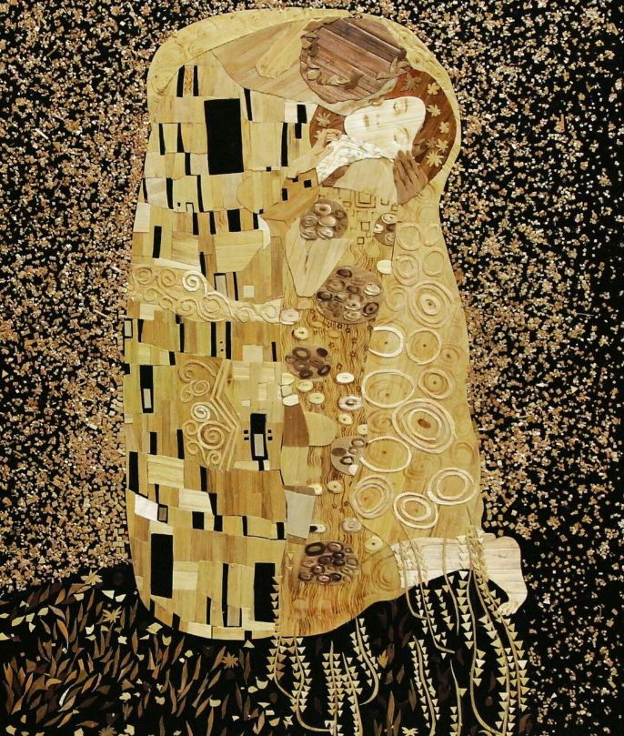 Lyudmila Kushnir, The Kiss, Straw art, Ukraine straw, straw applique, The Straw Shop