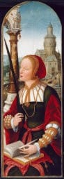bourrelet history painted byJean Bellegambe French, c. 1470-1535:36 Saint Barbara, c. 1520