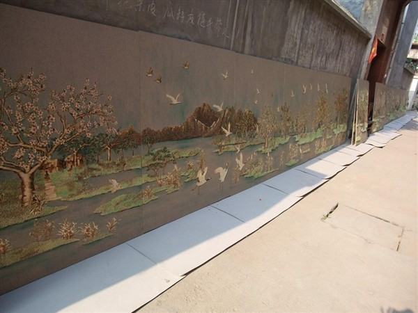straw painting, straw mural, Chang Ai Ying mural