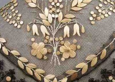 Collar detail, Courtesy The Straw Shop Collection, straw lace, straw embroidery