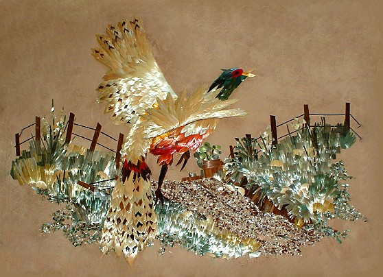 Elda Heidemann- Pheasant, straw painting, straw art, straw marquetry, straw painting