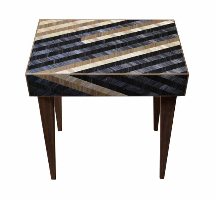 occasional table with straw marquetry by Violeta Galan UK