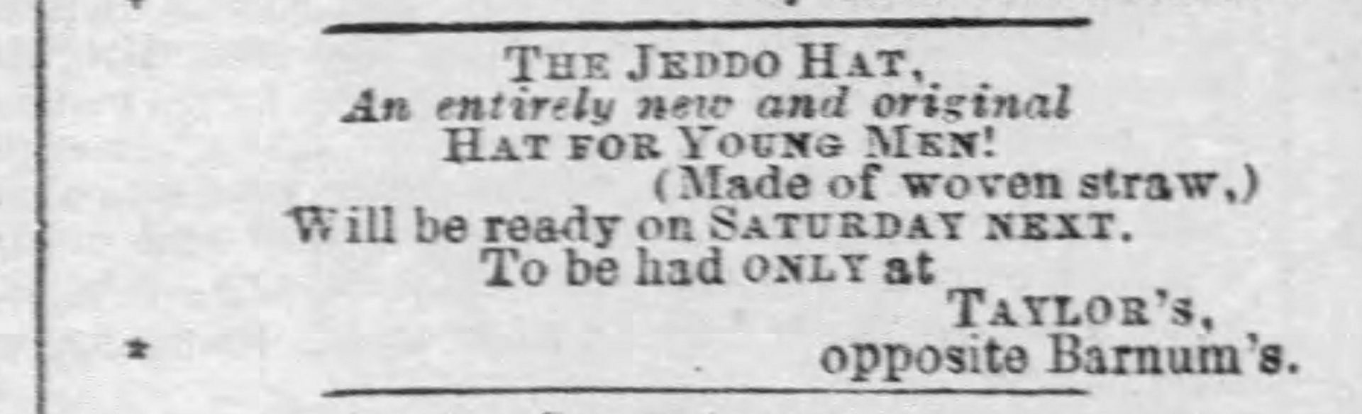 Jeddo Hat, The Baltimore Sun, The Straw Shop