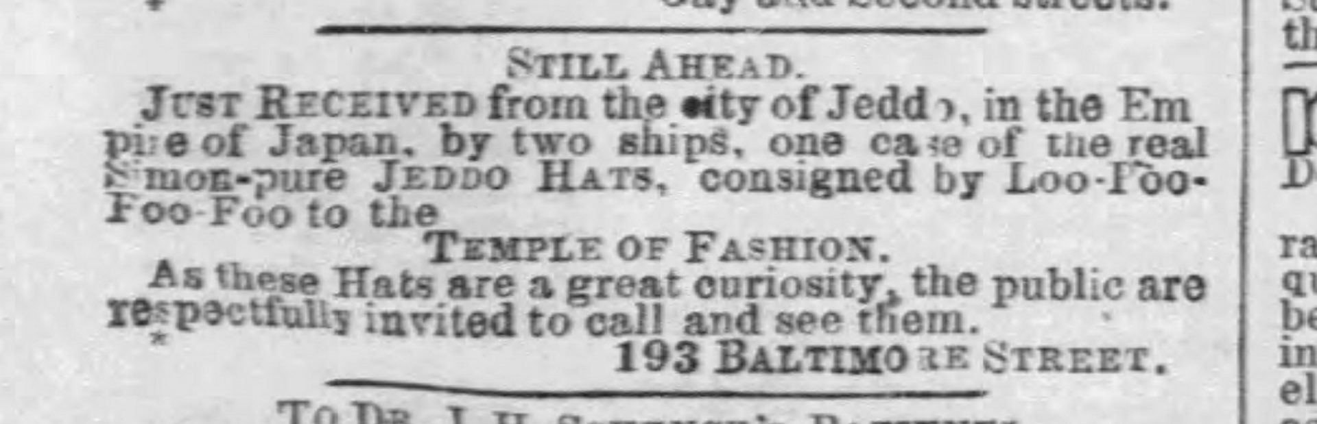 Jeddo Hats, The Baltimore Sun, The Straw Shop